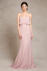 Floor-Length Sleeveless Spaghetti Chiffon Bridesmaid Dress With Brush Train