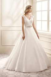 A-Line Cap-Sleeve V-Neck Jeweled Floor-Length Chiffon&Lace Wedding Dress With Appliques And V Back