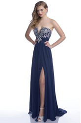Sophisticated Sweetheart Side Slit A-Line Prom Dress With Rhinestone Bodice