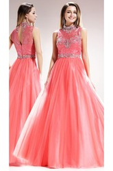 A-Line Long High Neck Sleeveless Tulle Satin Illusion Dress With Beading And Lace
