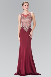 Sheath Maxi Scoop-Neck Sleeveless Jersey Illusion Dress With Beading