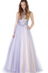 A-Line Floor-Length Sleeveless Beaded Jewel-Neck Tulle&Satin Prom Dress