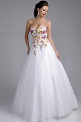 Tulle Sweetheart Sleeveless Lace Appliqued A-Line Prom Dress With Beaded Belt