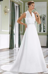 A-Line V-Neck Sleeveless Appliqued Floor-Length Satin Wedding Dress With Waist Jewellery