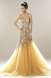 One Shoulder Open Back Luxury Tulle Mermaid Beaded Dress With Appliques