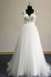 V-Neck Sleeveless Tulle Wedding Dress With Lace Top