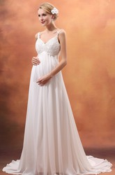 Empire V-Neck Maternity Wedding Dress With Spaghetti Straps