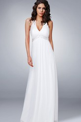 Simple Summer Beach Halter V Neck Empire Chiffon Wedding Dress with Beading