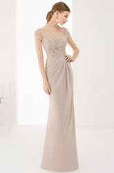 Illusion Neck Cap Sleeve Chiffon Long Prom Dress With Back Buttons And Keyholes
