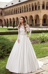 Floor-length Long Sleeve Bateau Satin Dress With Crystal Detailing&V Back