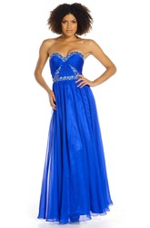 A-Line Sleeveless Ankle-Length Beaded Sweetheart Chiffon Prom Dress With Backless Style And Ruching