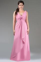 V Neck A-Line Chiffon Long Bridesmaid Dress With Cascading Skirt