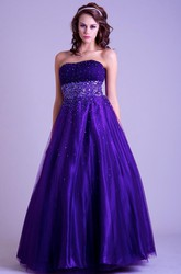 A-Line Sleeveless Long Strapless Ruched Tulle&Satin Prom Dress With Beading