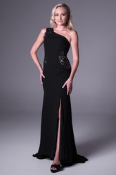One-Shoulder Long Lace Chiffon Prom Dress With Sweep Train