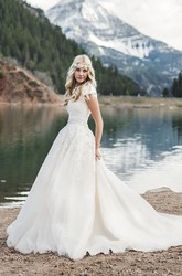 Lace Appliqued Queen Anne Ballgown Cap Sleeve Romantic Wedding Dress With Button Back