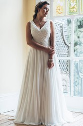 A-Line Long V-Neck Sleeveless Chiffon Court Train Waist Jewellery Dress