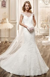 Cap-Sleeve Mermaid Wedding Dress With Open Back And Appliques