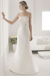 Strapless Lace Top Sheath Satin Bridal Gown With Back Keyhole And Bows