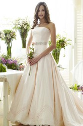 Strapless Maxi Jeweled Bowed Satin Wedding Dress With Appliques