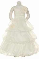 Floral Tiered Organza Flower Girl Dress With Ruffles