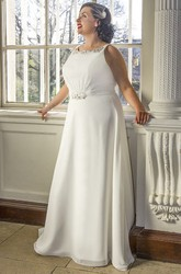 Crystal Neck A-Line Bridal Gown With Lace Up And Keyhole