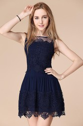 Newest Illusion Sleeveless Short Homecoming Dress With Lace