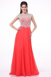 A-Line Long Jewel-Neck Cap-Sleeve Chiffon Illusion Dress With Beading