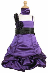 Midi Cape Floral Ruched Satin Flower Girl Dress With Ribbon