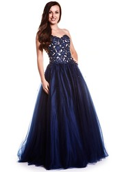 A-Line Sleeveless Maxi Sweetheart Appliqued Tulle Prom Dress With Lace-Up Back And Beading
