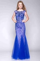 Cap Sleeve Bateau Neck Lace Mermaid Prom Dress With Tulle Skirt