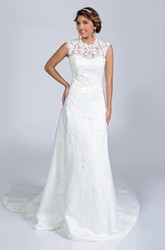 Lace A-Line Sleeveless Jewel Neck Wedding Dress With Illusion Back