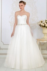 Ball Gown Sweetheart Sleeveless Floor-Length Jeweled Tulle Wedding Dress