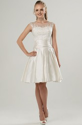 A-Line Sleeveless Scoop-Neck Short Satin Wedding Dress With Illusion