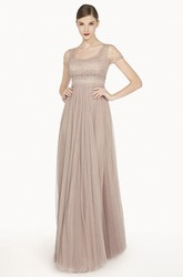 Empire Square Neck Short Sleeve Tulle Long Prom Dress With Crystals
