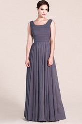 Sleeveless Scoop A-line Long Dress With Ruching