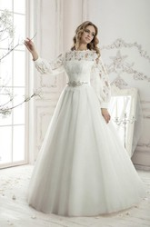 Floor-length A-line Long Sleeve Lace Top Appliques Tulle Dress