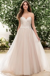 Sweetheart A-Line Gown With Gorgeous Appliqued Bodice