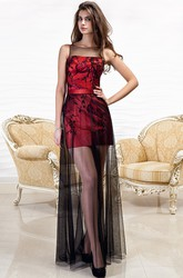 Long Embroidered Sleeveless Scoop-Neck Tulle&Satin Prom Dress