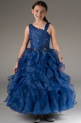 Flower Girl Asymmetric Straps Tiered Organza Ball Gown With Crystals