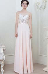 Sheath Long Beaded Sweetheart Sleeveless Chiffon Evening Dress
