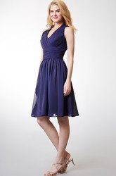 Cute Chiffon Halter Dress With Cummerbund Waist and Short Swirling Skirts
