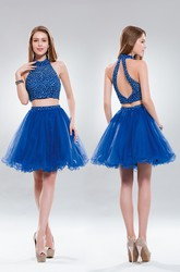 Two-Piece A-Line Short High Neck Sleeveless Tulle Keyhole Dress With Beading And Ruffles