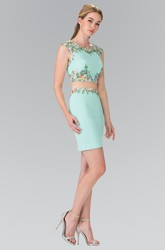 Two-Piece Pencil Mini Bateau Cap-Sleeve Jersey Zipper Dress With Appliques