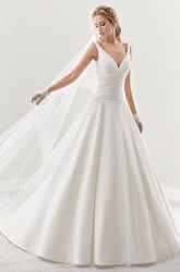 V-Neck A-Line Pleated Bridal Gown With Low-V Back And Brush Train