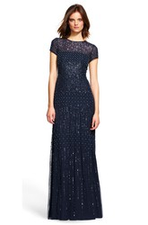 Floor-Length Sheath Short Sleeve Jewel Neck Beaded Sequin Bridesmaid Dress