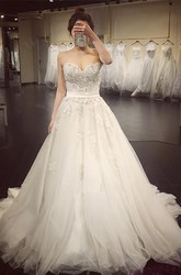 Ball Gown Sweetheart Lace Tulle Backless Zipper Wedding Gown