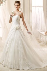 Sweetheart A-line Flower wedding Gown with Asymmetrical Ruching and Brush Train