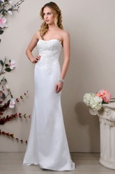 Satin Sweetheart Trumpet Wedding Dress With Lace-Appliqued Bodice And Tulle Overlay