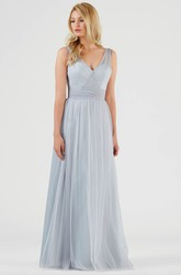 Sleeveless V-Neck Bowed Tulle Bridesmaid Dress With Ruching