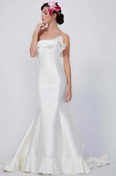 Mermaid Sleeveless Strapless Floor-Length Rufflesd Satin Wedding Dress